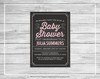 Chalkboard Baby Shower Invitation - Printable Baby Shower Invitation - Pink Chalkboard Baby Shower - Baby Shower Invitation - Invite - SP155
