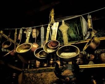"Original Artist Print -- ""Ladles of Tibet"" by Donna Caplinger (Ladles hanging in a curiosity shop in Tibet)"