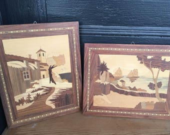 Beautiful Wooden Inlaid Marquetry Wall Art, Set of Two (2)