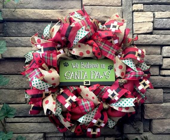Christmas Wreath, Holiday Wreath, Burlap Wreath, Christmas Decor, Dog Decor, Holiday Decor, Christmas, Dog, Dog Wreath, Santa Wreath, Xmas