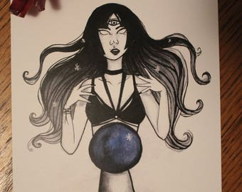 Oracle Inktober Purple Witch Ink Drawing