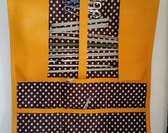 Range of needles, felt, pencil, makeup brush, pouch, orange yellow leather, Christmas gift, Nomad