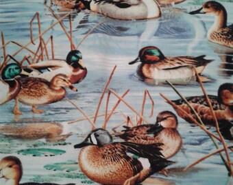 "Valance, Curtain Panel, Matching Pillow ""Ducks"""