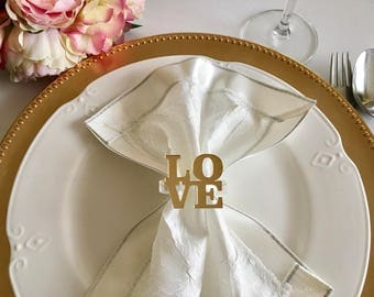 love napkin ring holders personalized wedding napkin rings valentines day table decor love sign custom gold - Wedding Napkin Rings