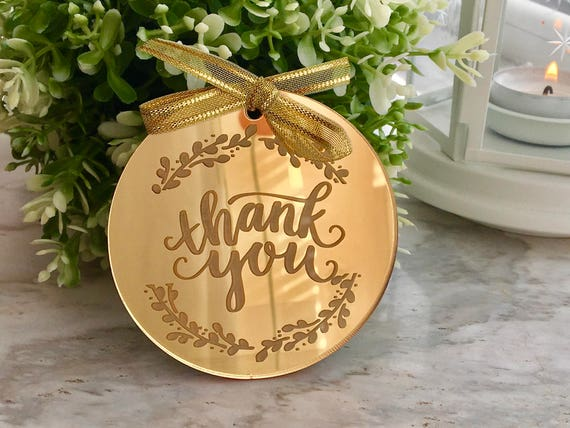 Thank You Sign Tree Ornament Gift Tags Personalised Name Bauble Appreciation Gift Tag Laser Engraved Custom Floral Decoration Thank you card