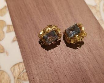 Vintage Crystal Blue Clip Earrings