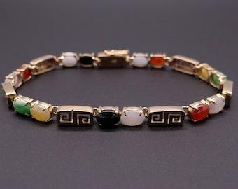 "Classic 14k Yellow Gold Multi Color Jade Bracelet Lavender Green Orange 7"""