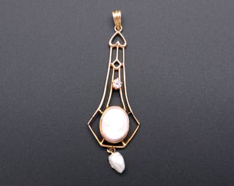 Art Deco 10k Yellow Gold Carved Coral Cameo Diamond Pearl Pendant