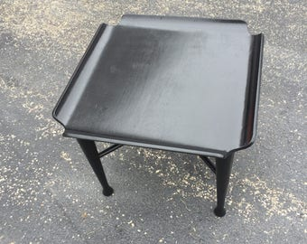 Reclaimed Mid Century Bent Plywood End Table in Black