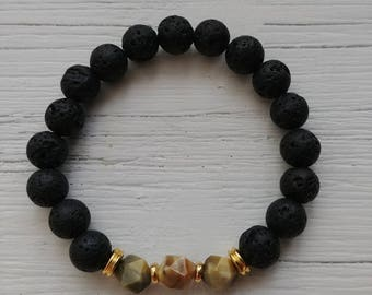 8mm Lava stone diffuser bracelet with geometric tigers eye and gold spacer