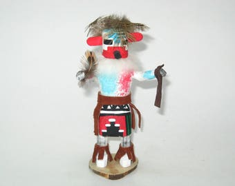 """Hopi Pueblo Indian """"Snow"""" Kachina signed CT Colleen Talahytewa - Vintage Carved & Painted Doll"""