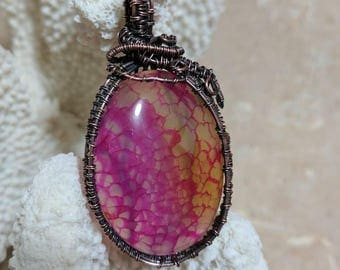 Copper Wire Wrapped Oval Pink Agate Pendant