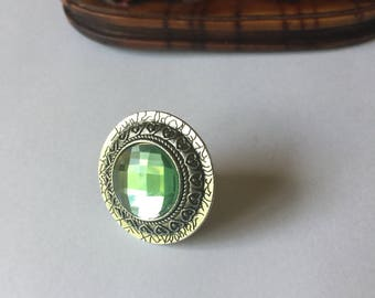 Big ring, metal and stone ring, Round ring, Green glass stone ring, Statement ring