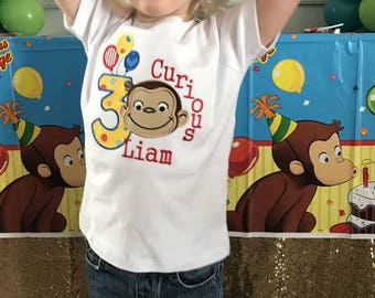Curious Monkey Birthday Shirt, Balloons Birthday Shirt, monkey birthday shirt, 1st birthday monkey shirt, 2nd birthday monkey shirt