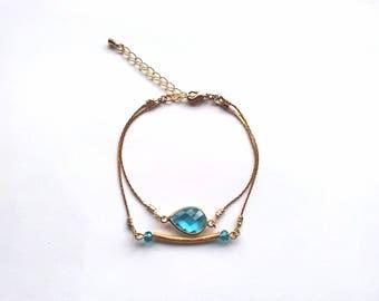 Bracelet double turn graphic Swarovski Crystal