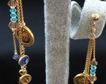 Dangle Earrings NEW Gold Filled Earrings Gold Bohemian Jewelry Coins Earrings Bohemian Feather Swarovski Earrings Threads Piercings