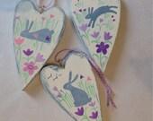 Trio of wooden hearts - R...