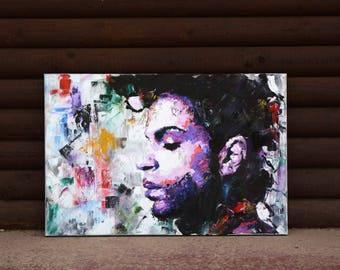 "Prince (Musician), Original Painting, 30"", 38"", Worldwide Shipping, Art, Music, Palette Knife, Canvas, Richard Day"