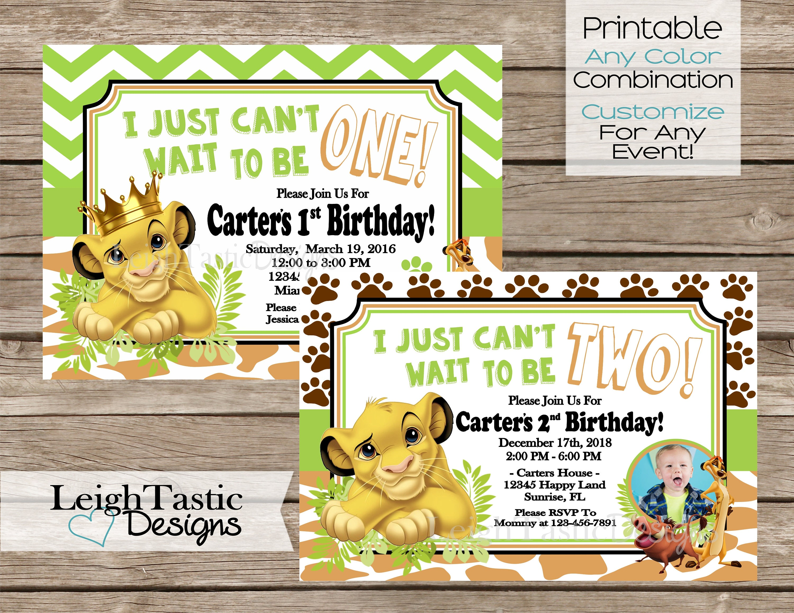 SALE PRINTABLE Invitation Simba Birthday Lion King