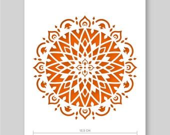 "Mandala Stencil - Plastic or Card -  A5 14.8 x 21cm / 5.8"" x 8.3""  - Mandala Ø is 12.5cm / 5"" - painting, crafts, wall and furniture stencil"