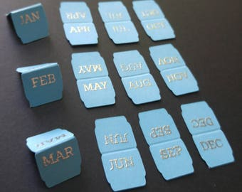 planner tabs, Micro Mini monthly planner tabs, blue and silver or gold embossed journal labels, page markers, bookmarks, Page flags