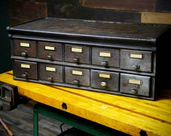 """Shaw Walker Early 10 Drawer Antique Vintage Wood File Cabinet With """"SW"""" Drawer Pulls Handles - Country General Store Brown"""