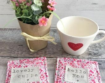 Liberty coasters, Fabric coasters, Drink coasters, Coaster set, Housewarming gift, Desk decor, Coffee coaster, Mug cosy, Hello you, Cuppa