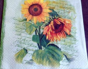 5 sunflowers paper napkins