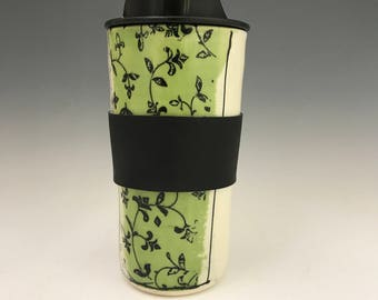 Valentines Handmade Travel Mug - Tropical Green Travel Mug With Flowers Travel Coffee Cup - Porcelain Travel Mug Pottery Mug - Commuter Cup