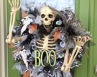 Superior Halloween Wreath Skeleton , Skeleton Halloween Wreath, Scary Skeleton Wreath, Halloween Wreath, Spider Wreath, Spider Halloween
