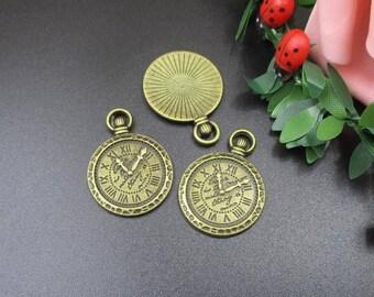 10Pcs 30x21mm Bronze Clock Charms-p1396