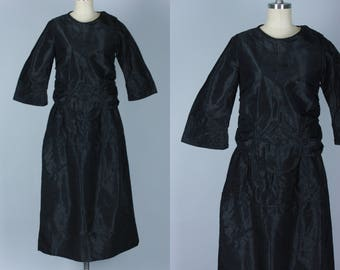 Vintage 1910s Dress | 10s 20s Black Silk Dress with Ruched Waist and Pin Tuck Details | Medium / Large
