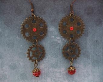 Steampunk earrings gears
