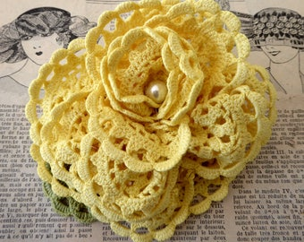 Yellow flower brooch made from hand dyed crochet, repurposed