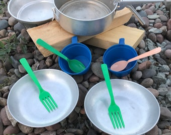 Vintage Nesting Camping Cooking Set for Two
