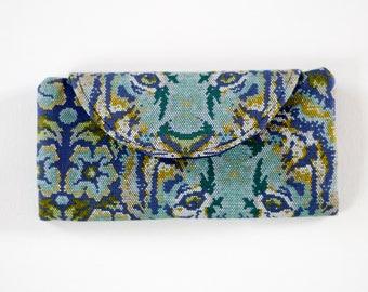 Womens Wallet - Folding Wallet - Navy Wallet - Slim Wallet - Large Wallet - Cellphone Holder - Card Holder - Handmade Wallet