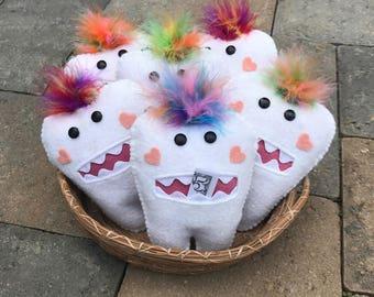 Tooth Fairy Pillow, Wool Felt, Handmade, Felt Tooth Fairy Pillow, Tooth Keeper, Troll, Colorful Feather Hair.