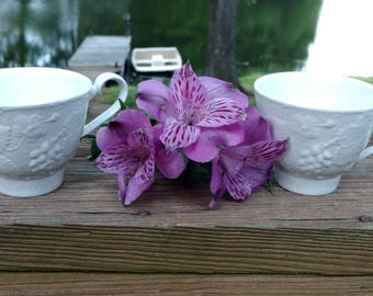 On Sale Pair of Burleighware FootedTea Cups Strawberry and Grape Leaf Pattern