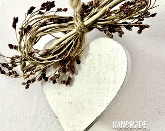 heart and lavender garland, white woden heart garland
