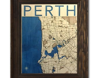 Perth Wood Engraved 2D City Map - 18x24 - Laser Cut Map Decor