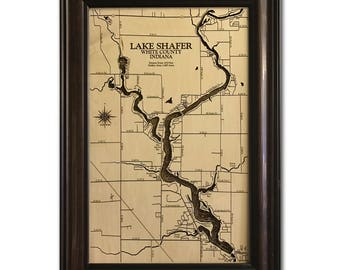 Lake Shafer Dimensional Wood Carved Depth Contour Map - Customize With Your Home Information