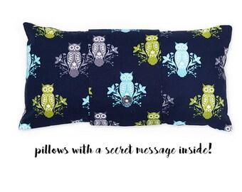 Owls - pillow with a secret message