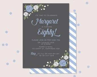 Ladies Floral 80th Birthday Invitation (Digital File) - Pretty, floral design in powder blue and white. Beautiful 80th invitation - Any age!