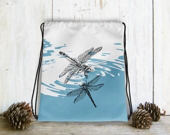 Drawstring bag, Dragonflies Backpack, Dragonfly Bag Drawstring, Hipster Gift, Blue White Bag, Drawstring Backpack, Nature Bag, Gift Under 30
