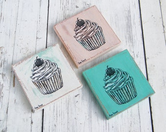 Rustic Bakery Decor, Miniature Paintings, Set of 3 Cupcakes art, Kitchen Decor, patisserie wall art, Kitchen Wall Art, Country Chick, Gift