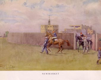 1951 horse racing print newmarket by lionel edwards
