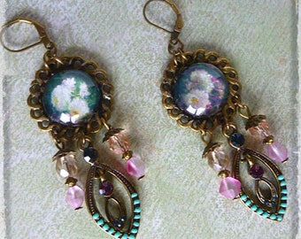 "Earrings ""Rose"" Victorian Bohemian pearls, bronze, illustrated cabochon flowers, vintage pendant."