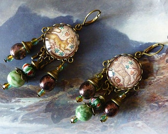 "Baroque earrings ""Mosaic"" illustrated, glass cabochon bronze metal, iridescent Czech glass, green agate"