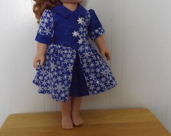 Blue Christmas Doll Dress