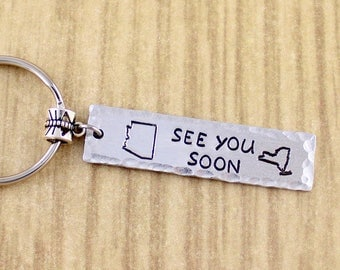 Long Distance Gift • See You Soon Keychain Select Your States •  Long Distance Relationship Gift • Distance Keychain • Xmas Gift • BF or GF